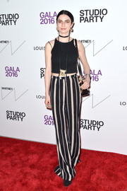 Tali Lennox jazzed up her simple top with a pair of striped pants.