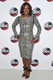 Viola Davis showed off her figure in a printed dress at the Winter TCA Tour.