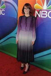 Megan Mullally kept it conservative in an ombre ruffle shirtdress at the NBCUniversal Press Tour.