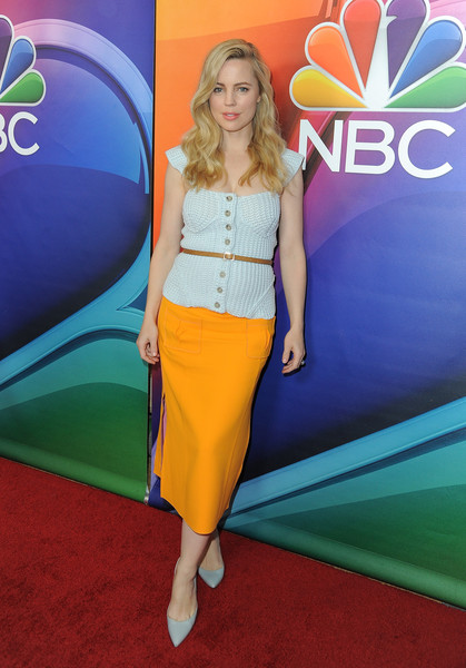 Melissa George looked cute and relaxed in a white crochet top during the NBCUniversal Press Tour.