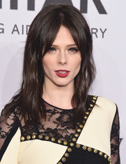 Coco Rocha styled her hair with barely-there waves and center-parted bangs for the amfAR New York Gala.
