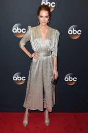 Darby Stanchfield cut a chic figure in this floaty silver jumpsuit at the 2017 ABC Upfront.