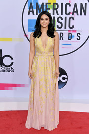 Camila Mendes looked sophisticated in a plunging pink and gold halter gown by J. Mendel at the 2017 American Music Awards.