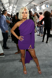 Karrueche Tran looked sassy in a purple one-shoulder mini dress by Gareth Pugh at the 2017 BET Awards.
