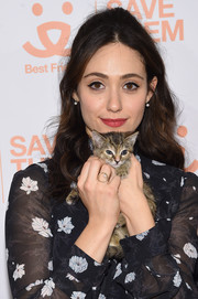 Emmy Rossum styled her hair into a boho-glam half-up 'do for the 2017 Best Friends Benefit to Save Them All.