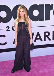 Ashley Tisdale donned a black Tadashi Shoji jumpsuit with a lace-panel bodice for the 2017 Billboard Music Awards.