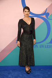 Priyanka Chopra looked supremely elegant in a beaded black dress by Michael Kors at the 2017 CFDA Fashion Awards.