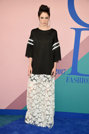 Coco Rocha contrasted her edgy top with a boho maxi skirt, also by Cynthia Rowley.
