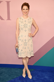 Ellie Kemper charmed in a beaded nude cocktail dress by Kate Spade at the 2017 CFDA Fashion Awards.