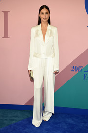Adriana Lima was all about pajama glamour in this white silk jumpsuit by Urban Zen at the 2017 CFDA Fashion Awards.