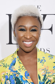 Cynthia Erivo attended the 2017 DVF Awards rocking white curls with dark roots.