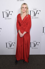 Laura Brown chose a flowing red wrap dress for her 2017 DVF Awards look.