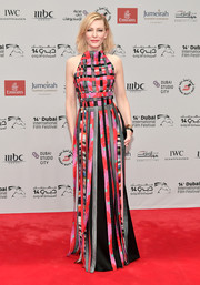 Cate Blanchett looked downright fab in a Giorgio Armani halter gown with a woven bodice and a fringed skirt at the 2017 Dubai International Film Festival opening night gala.
