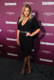 Sasha Pieterse wrapped up her curves in a black bandage dress for the Entertainment Weekly pre-Emmy party.