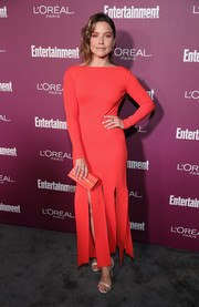 Sophia Bush rounded out her minimalist-chic look with a marbled coral box clutch by Edie Parker.