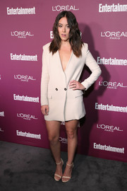 Chloe Bennet went menswear-chic in a cream-colored blazer dress by Elisabetta Franchi for the Entertainment Weekly pre-Emmy party.