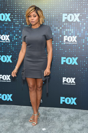Taraji P. Henson showed some leg in a gray mini dress by Vatanika at the 2017 Fox Upfront.