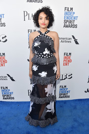 Kiersey Clemons donned a tiered, sheer-bottom halter gown by Prabal Gurung for a summery flair at the 2017 Film Independent Spirit Awards.