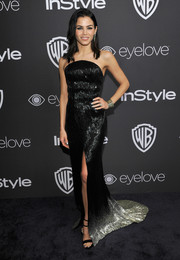 Jenna Dewan-Tatum went for edgy glamour in a heavily beaded ombre strapless gown by Julien Macdonald at the InStyle and Warner Bros. Golden Globes post-party.