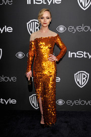 Christina Ricci went for a distressed-chic look in a frayed, asymmetrical sequin gown by Monse at the InStyle and Warner Bros. Golden Globes post-party.