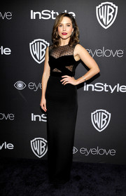 Sophia Bush was svelte and elegant at the InStyle and Warner Bros. Golden Globes post-party in a black Monique Lhuillier gown with a sheer-panel bodice.