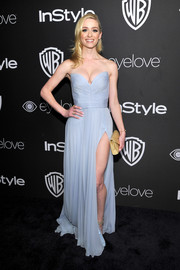Greer Grammer got glam in a pastel-blue strapless gown for the InStyle and Warner Bros. Golden Globes post-party.