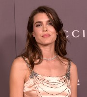 Charlotte Casiraghi complemented her embellished dress with a diamond necklace.