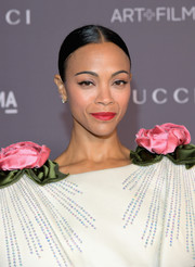 Zoe Saldana kept it low-key with this slicked-down bun at the 2017 LACMA Art + Film Gala.