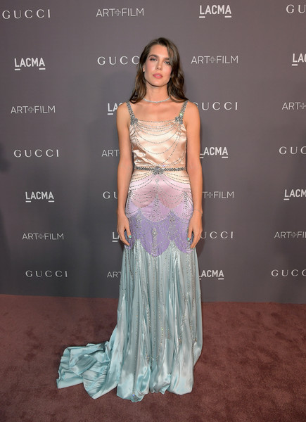Charlotte Casiraghi was a delight to behold in this beaded multi-pastel gown by Gucci at the 2017 LACMA Art + Film Gala.