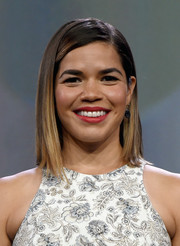 America Ferrera was neatly coiffed with this straight side-parted style at the 2017 NAB Show Television Luncheon.