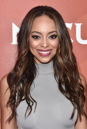 Amber Stevens West was gorgeously coiffed with long, piecey waves at the 2017 NBCUniversal Summer Press Day.