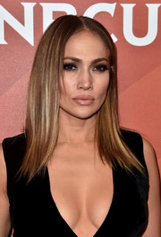 Jennifer Lopez finished off her makeup with a glossy nude lip.
