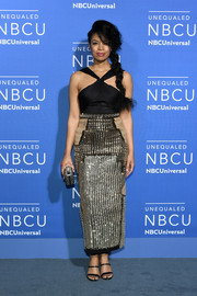 Susan Kelechi Watson brought major sparkle to the 2017 NBCUniversal Upfront with this embellished halter dress.
