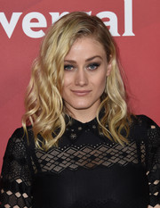 Olivia Taylor Dudley was fabulously coiffed with beach-glam waves when she attended the 2017 NBCUniversal Winter Press Tour.
