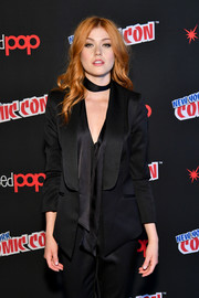 Katherine McNamara kept it smart in a black tux jacket during New York Comic Con 2017.