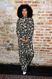 Tracee Ellis Ross donned a vibrant black-and-white jumpsuit by Valentino for an interview during the 2017 New Yorker Festival.
