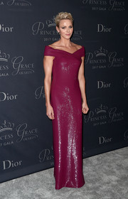 Charlene Wittstock looked downright regal in a shimmery burgundy off-the-shoulder gown by Ralph Lauren at the 2017 Princess Grace Awards Gala.