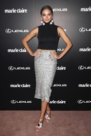 Ksenija Lukich showed off her figure in a tight black crop-top by Maticevski at the 2017 Prix de Marie Claire Awards.