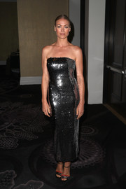 Yvonne Strahovski went for festive glamour in a strapless silver sequin dress by Sally LaPointe at the TCA Awards.