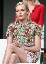 Kate Bosworth looked adorably retro in a heavily embroidered mini dress by Giambattista Valli Couture at the 2017 Summer TCA Tour.