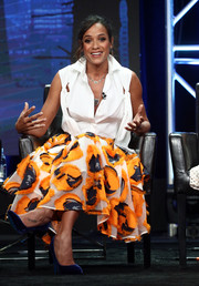 Dania Ramirez looked fashion-forward in a distressed-chic sleeveless button-down at the 2017 Summer TCA Tour.