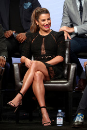 Lea Michele looked sultry in an Elie Saab LBD with sheer lace inserts at the 2017 Summer TCA Tour.