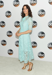 Bellamy Young looked fetching in a teal-length aqua lace dress by Temperley London at the 2017 Summer TCA Tour.