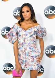 Dania Ramirez charmed in a printed off-the-shoulder mini dress with puffed sleeves at the 2017 Summer TCA Tour.