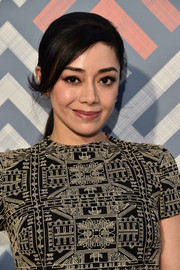 Aimee Garcia styled her hair into a ponytail with flippy side-swept bangs for the 2017 Summer TCA Tour.