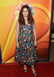 Debra Messing cut a colorful figure in a floral-embroidered midi dress by Alice + Olivia at the 2017 Summer TCA Tour.