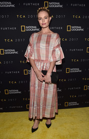 Kate Bosworth kept it modest in a pink plaid maxi dress by Ulla Johnson at the 2017 Summer TCA Tour National Geographic party.