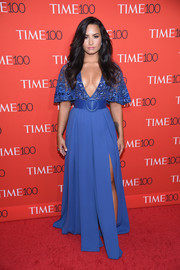 Demi Lovato took a daring plunge with this cobalt Zuhair Murad Couture gown with a deep-V neckline and a beaded bodice for her 2017 Time 100 Gala look.