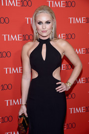 Lindsey Vonn paired a paneled box clutch with a cutout dress for the 2017 Time 100 Gala.