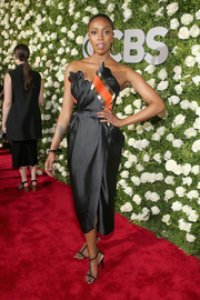 Condola Rashad cut a chic figure in a structured strapless dress by Vivienne Westwood at the 2017 Tony Awards.